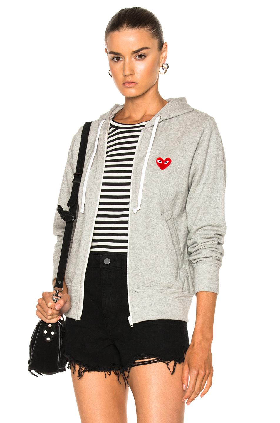 Play Comme Des Garçons Zip Up Cotton Hoodie With Red Emblem in Gray - Lyst
