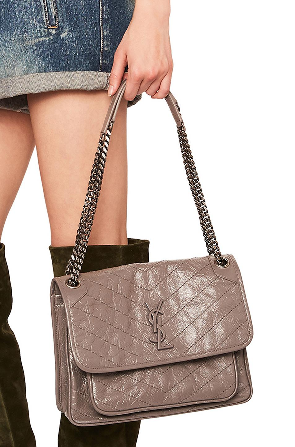 Saint Laurent Medium Niki Monogramme Chain Bag In Fog Lyst