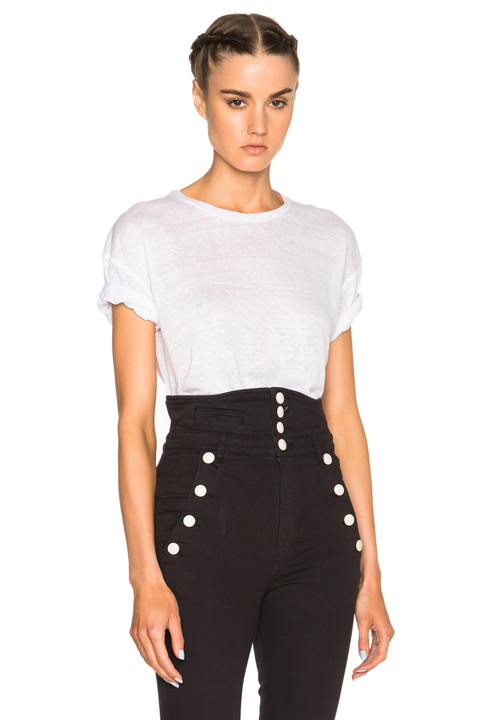 Isabel marant madjo linen tee in black lyst for Isabel marant t shirt sale