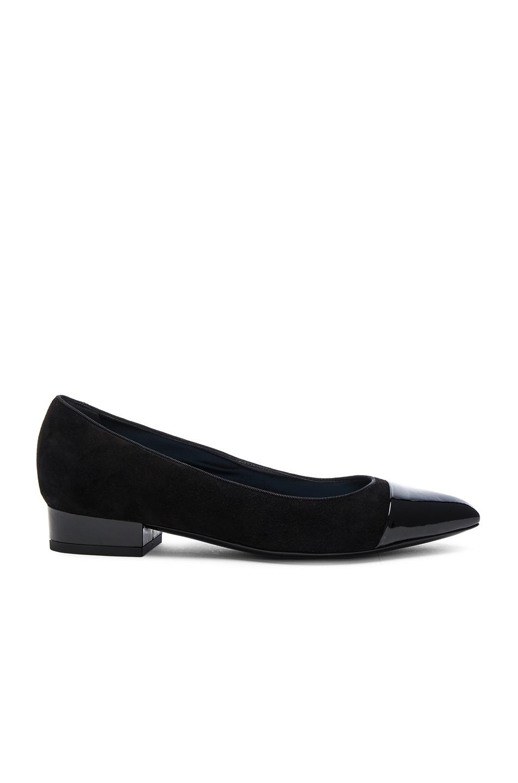lanvin suede pointy ballerina flats in black lyst