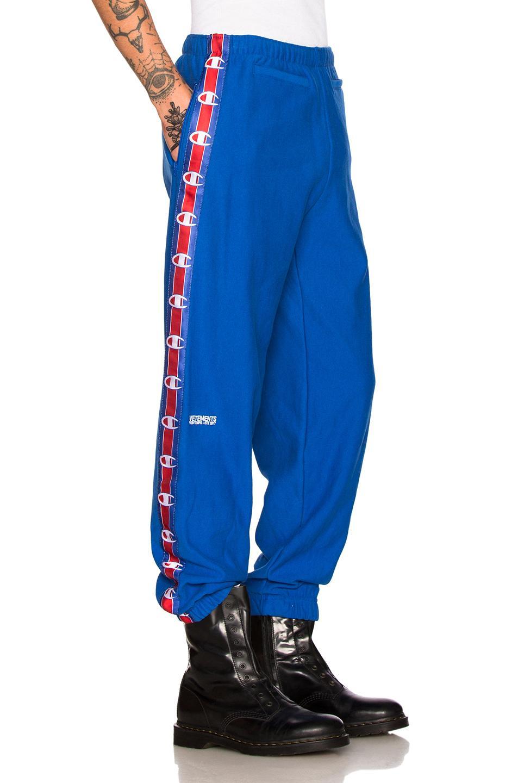 ce6c3d86b8fe79 Vetements X Champion Tape Track Pants in Blue - Lyst