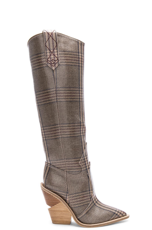 a41a3eaa73ec Lyst - Fendi Cutwalk Check Knee High Western Boots in Gray
