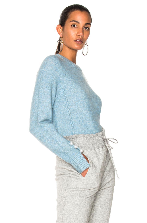 lyst 3 1 phillip lim inset shoulder pullover sweater in blue. Black Bedroom Furniture Sets. Home Design Ideas
