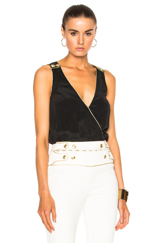 Balmain Silk Bodysuit in Black - Lyst