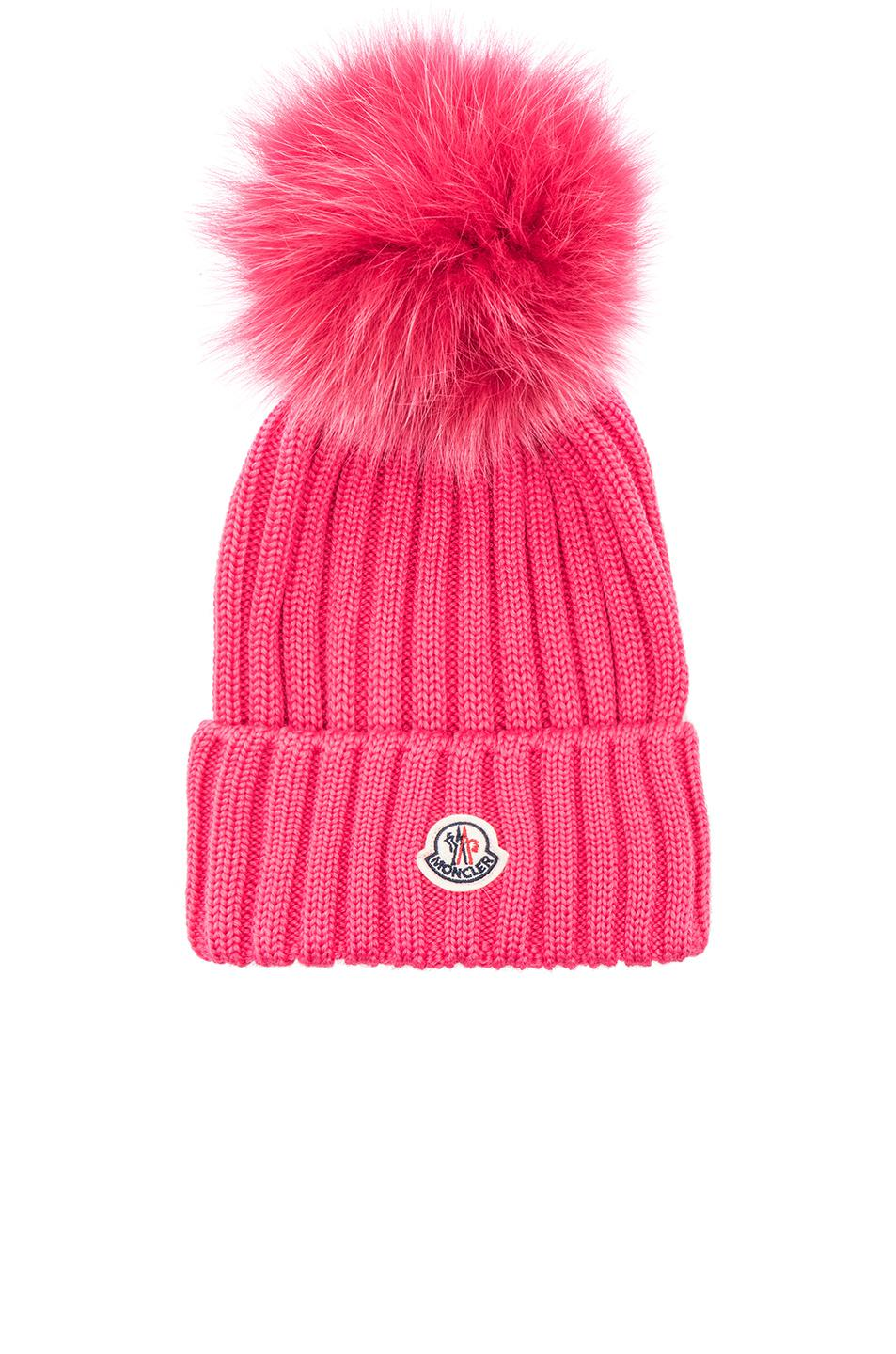 d7d8f9fe703c81 Lyst - Moncler Pom Beanie in Pink