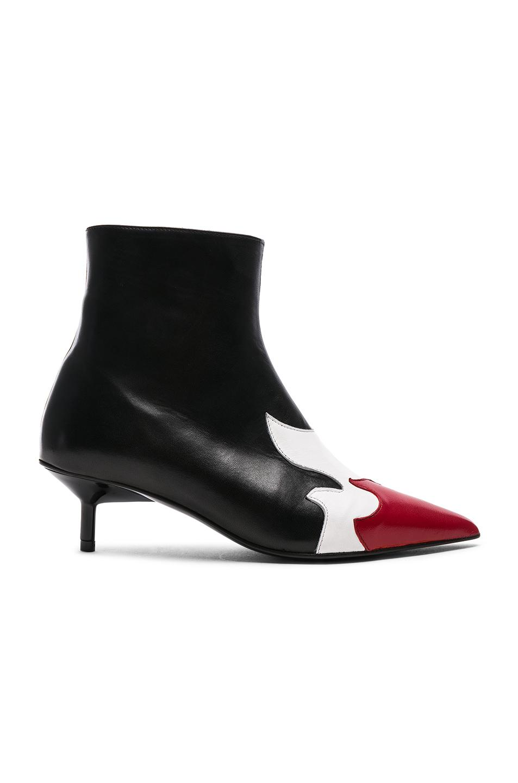 MARQUES'ALMEIDA Leather Pointy Kitten Heel Boots in Metallic . T4CyFP7kX