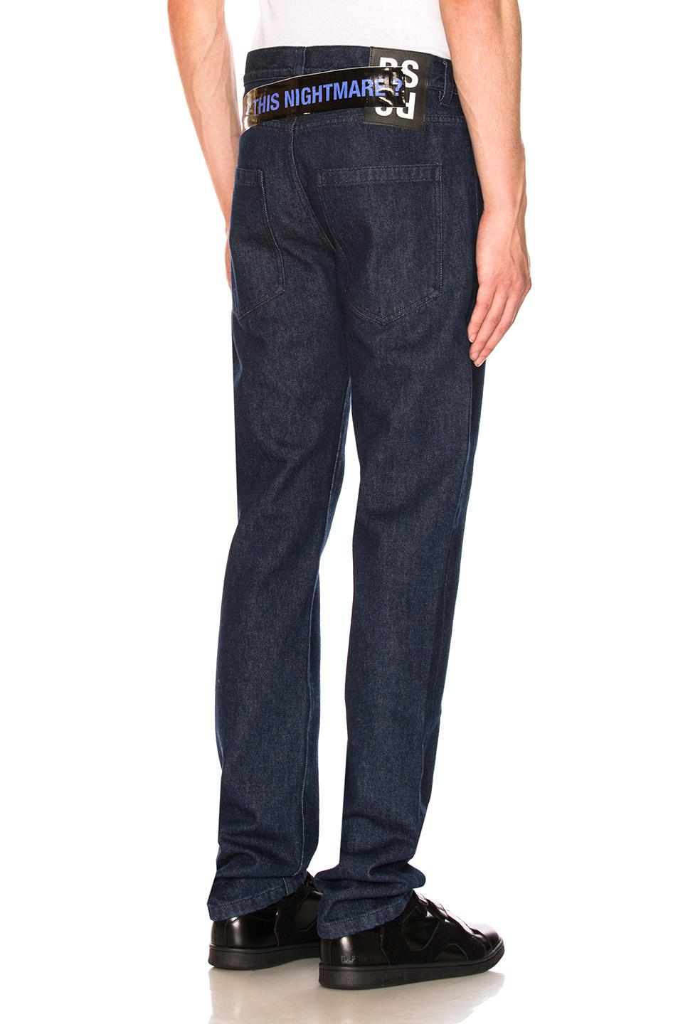 lyst raf simons jeans in blue