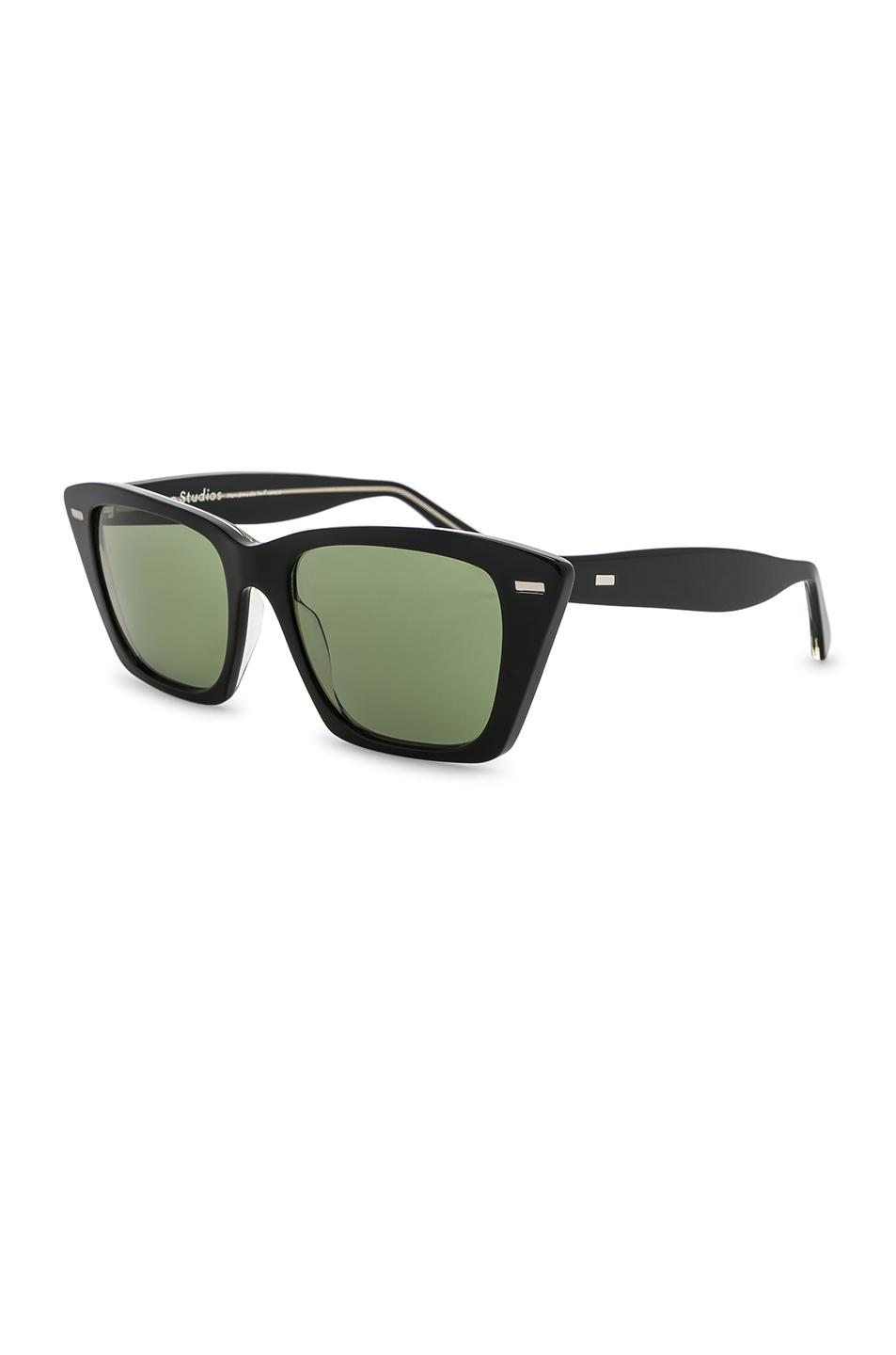 Acne Studios Leather Ingridh Sunglasses in Black, Yellow & Green (Green)