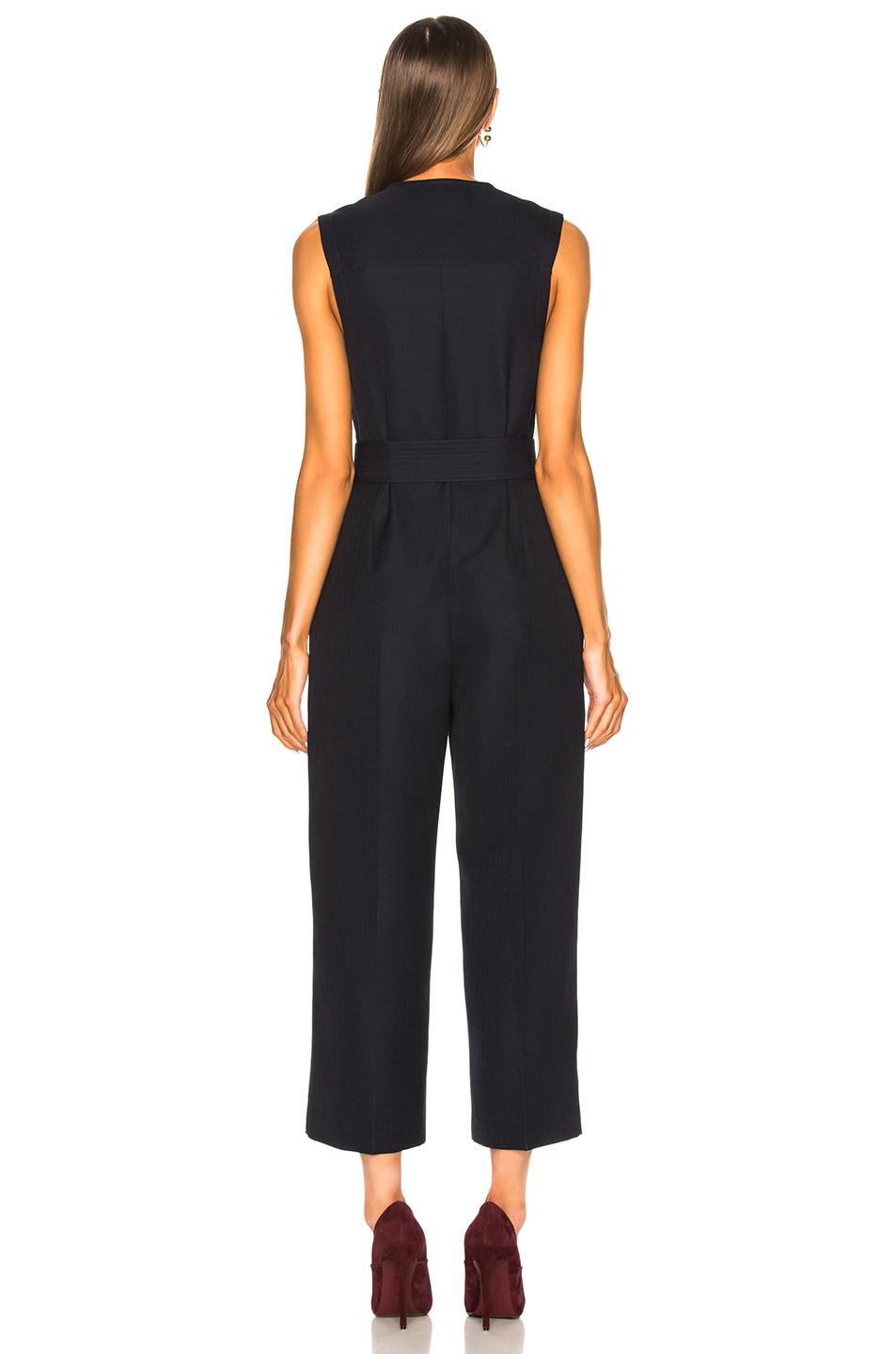 a57892d2a3b Victoria Beckham Sleeveless Cropped Jumpsuit in Blue - Lyst