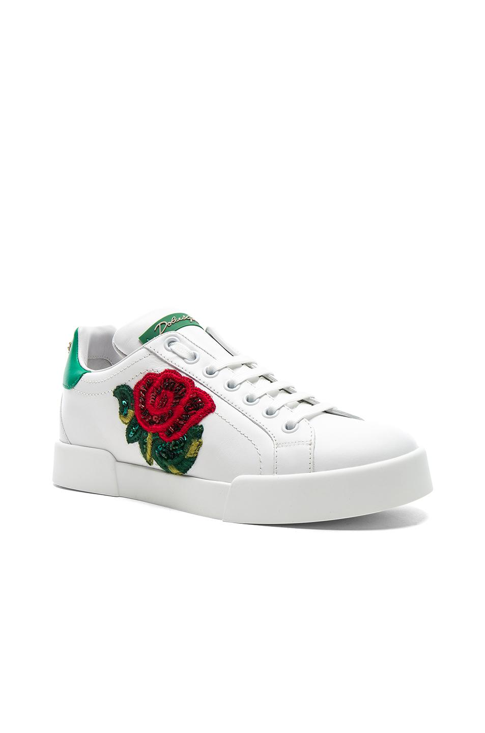 Dolce & Gabbana Sequin Rose Leather Sneaker in White