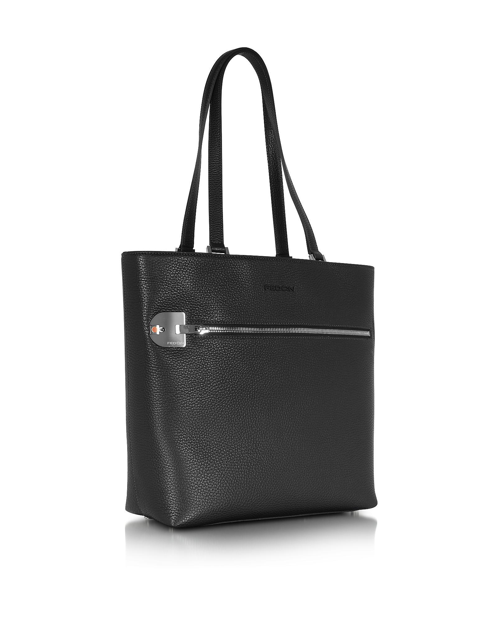 Giorgio fedon Amelia Black Leather Tote Bag in Black