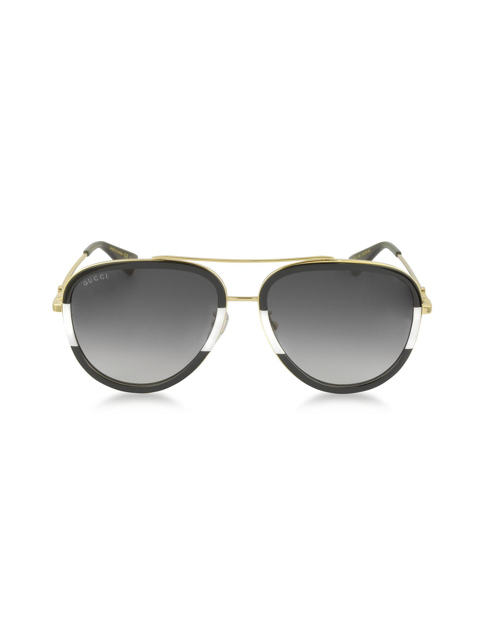 693d3393500 Gucci GG0062S 006 Black white Acetate And Gold Metal Aviator Women s ...
