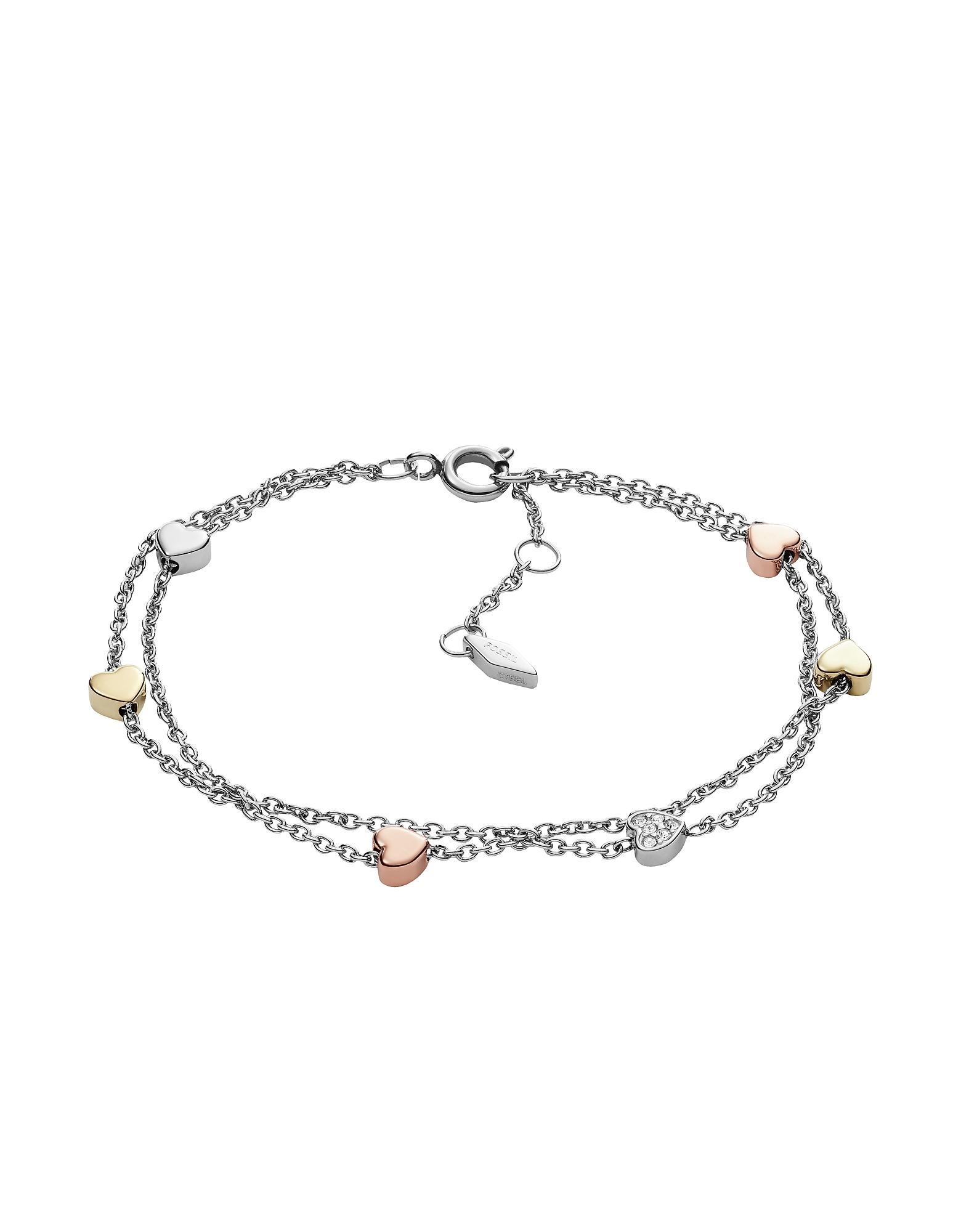 40e983822fd8 Pulsera con doble cadena de acero en tres tonos en forma de corazón de  mujer de color metálico