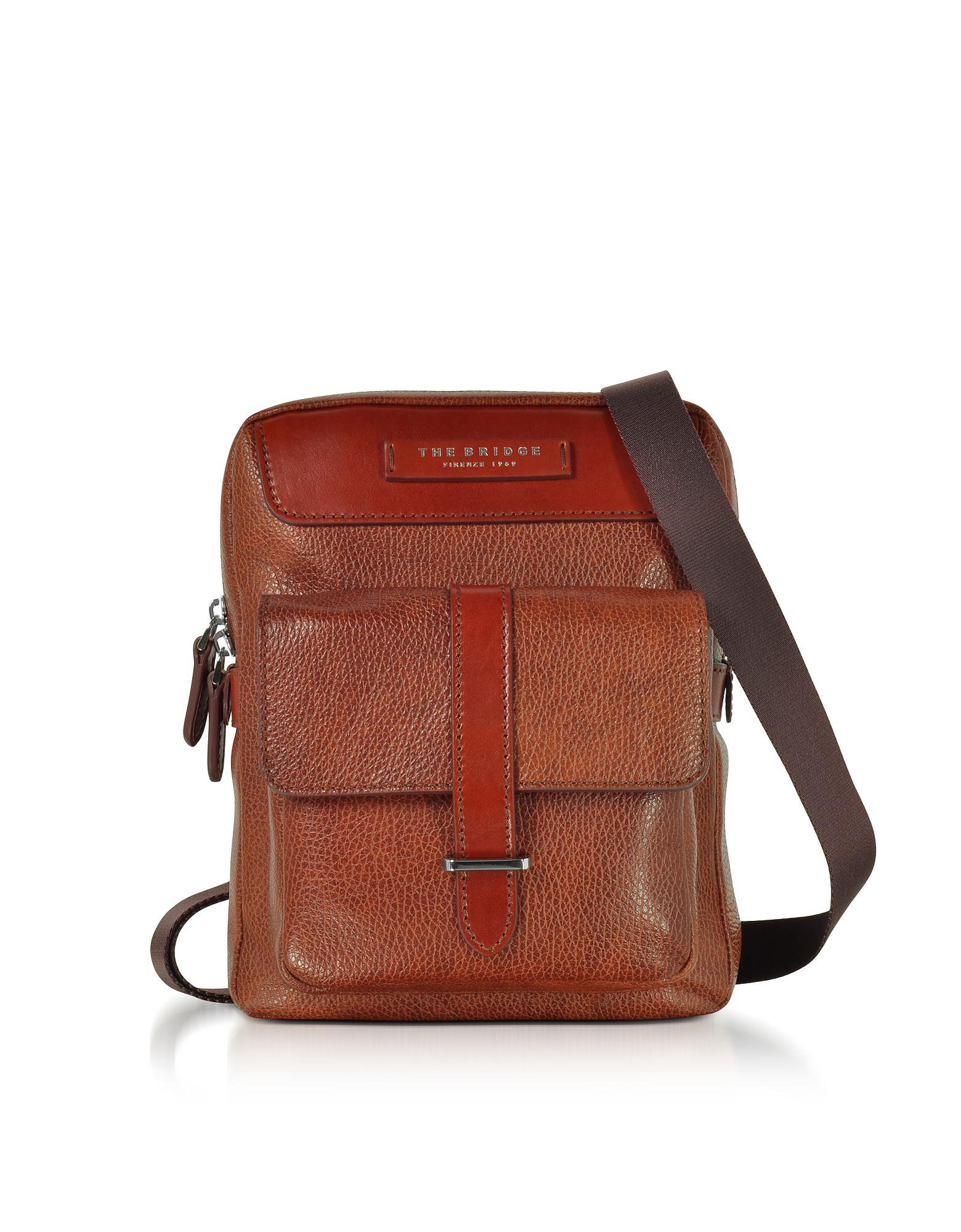 Pour Leather Men's The Crossbody Brown Bag Bridge Homme v0Nnwym8OP