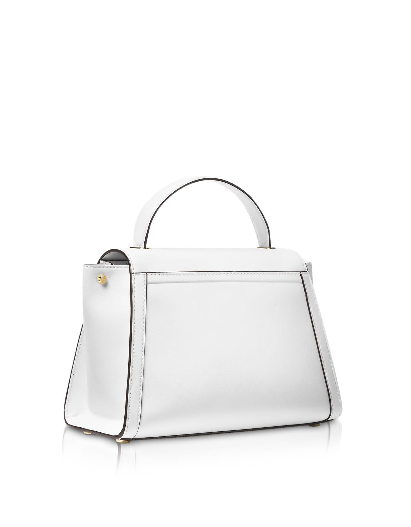 63d6c4bda961 Michael Kors Whitney Medium Leather Satchel in White - Lyst