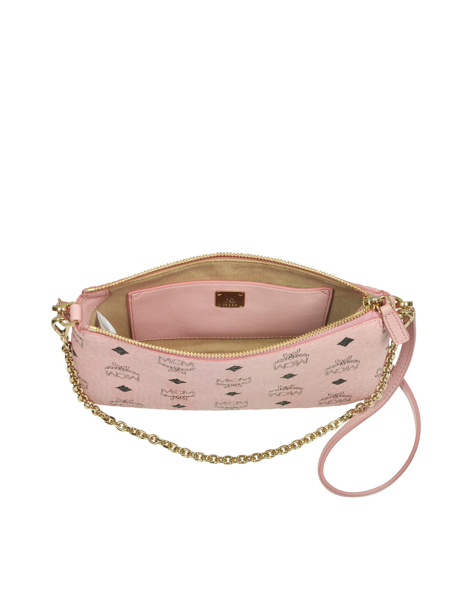 Millie Visetos Soft Pink Medium Zip Crossbody Bag