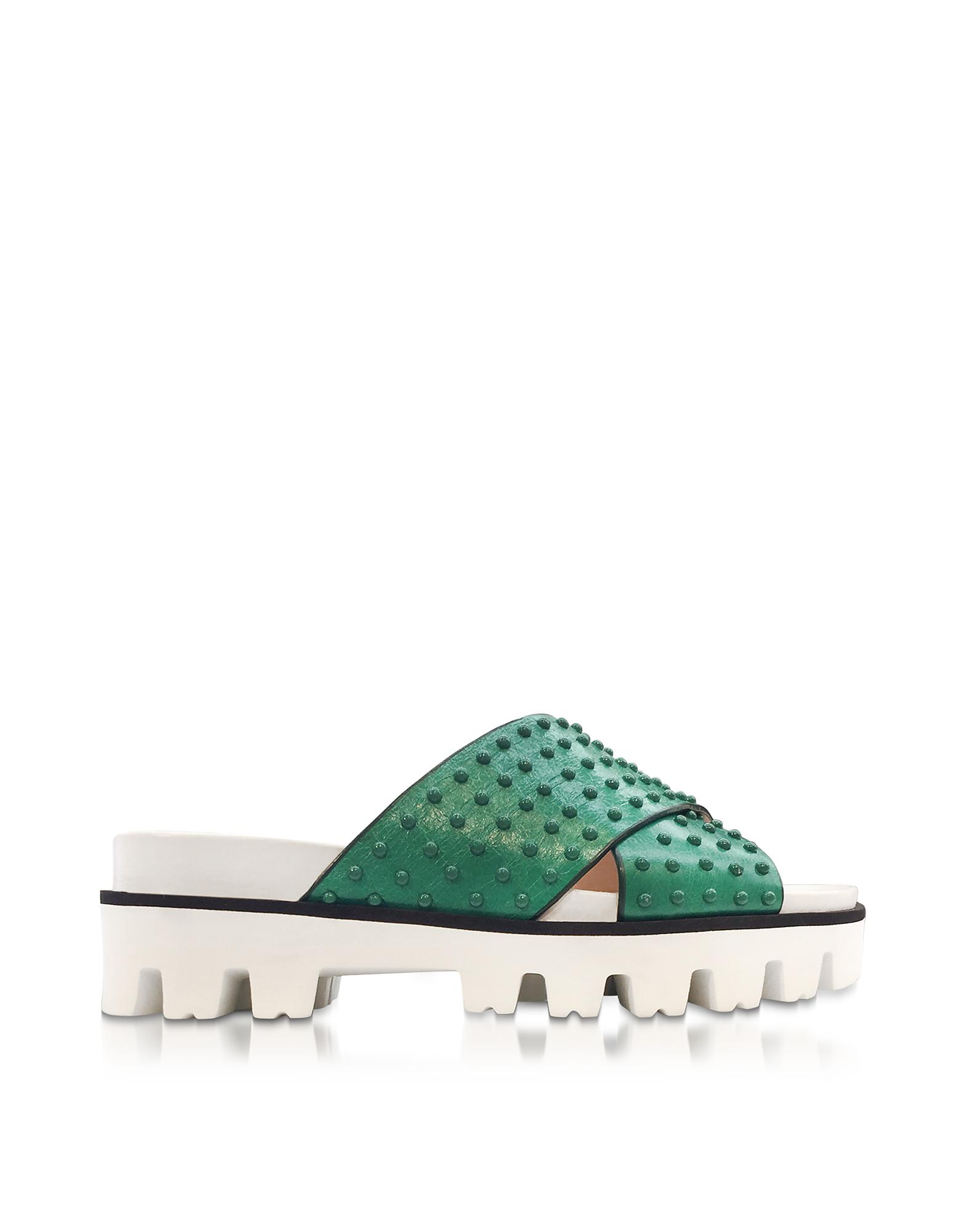 Buy Best 2018 For Sale RED Valentino Green Leather Slide Sandals W-studs Amazing Price Very Cheap For Sale Free Shipping Big Sale snNtqXtE
