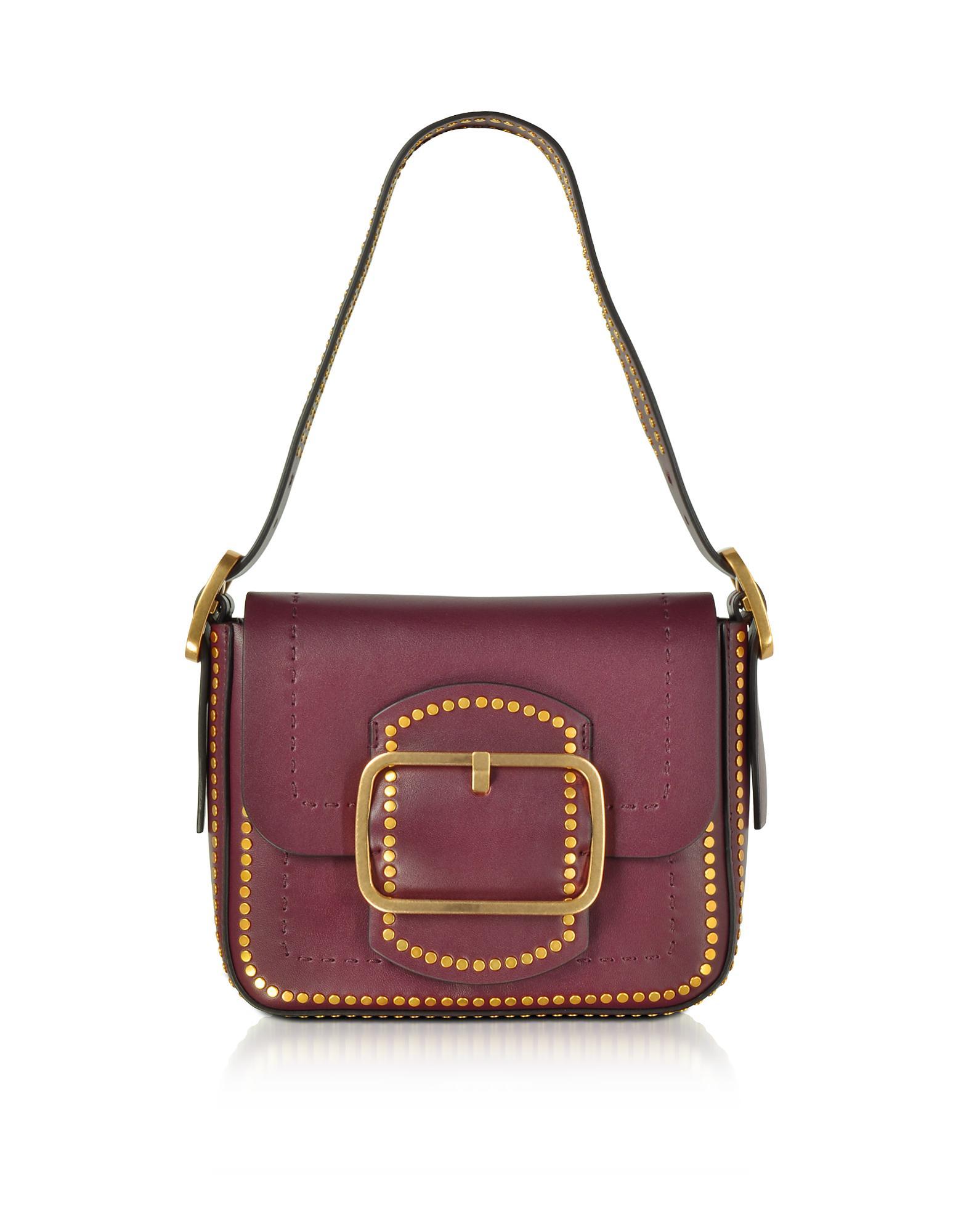 2707b2b9e246 Tory Burch Sawyer Port Stud Leather Small Shoulder Bag in Purple - Lyst