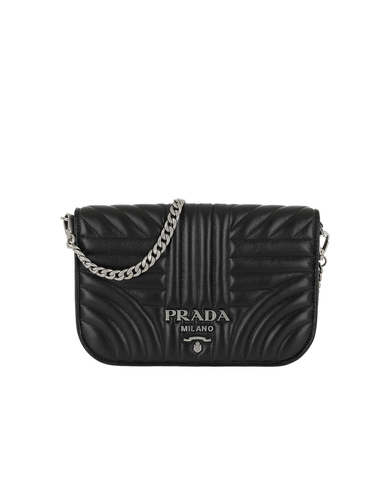 ed61cfee10b5a5 Prada Quilted Diagramme Nappa Leather Bag Black Silver in Black ...