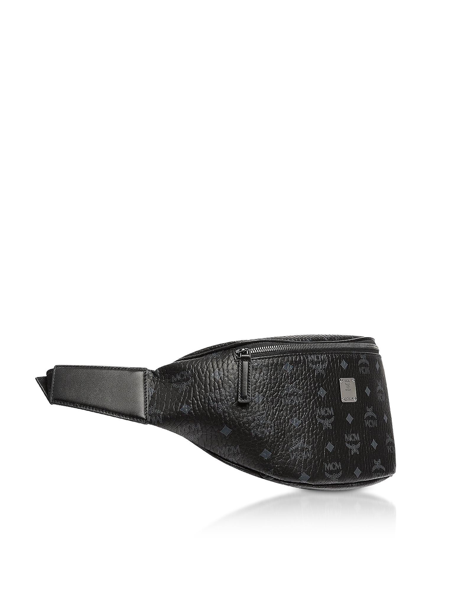 57f7a56f7f4 MCM Black Visetos Medium Stark Belt Bag for men