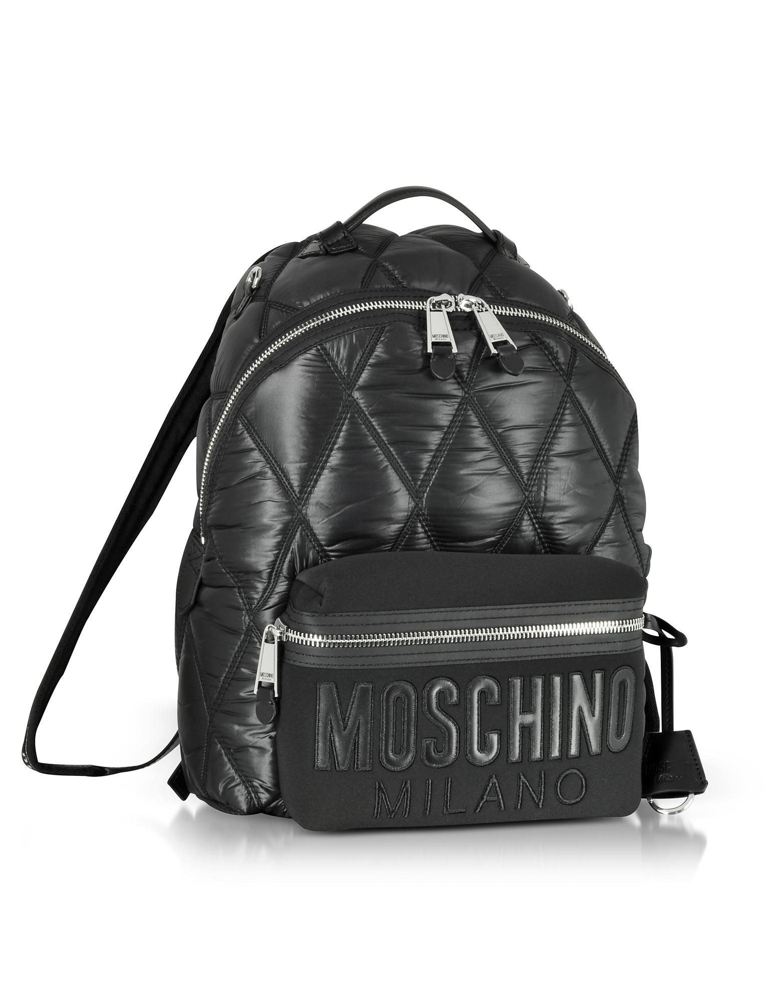afd9f4aec44e Moschino Black Quilted Nylon And Canvas Backpack in Black - Lyst