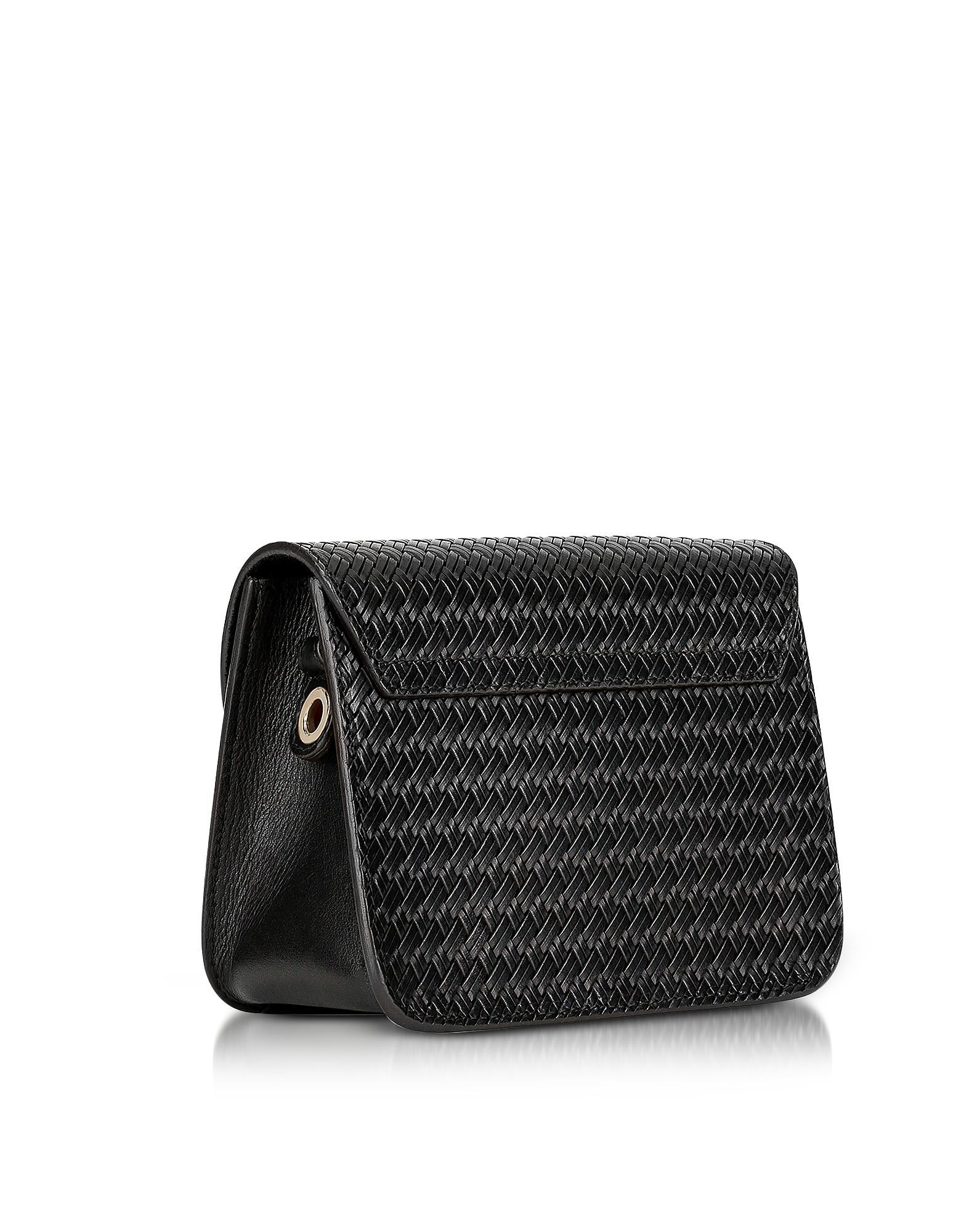 5826beb521b Lyst - Furla Onyx Woven Leather Metropolis Gilda Mini Crossbody Bag ...