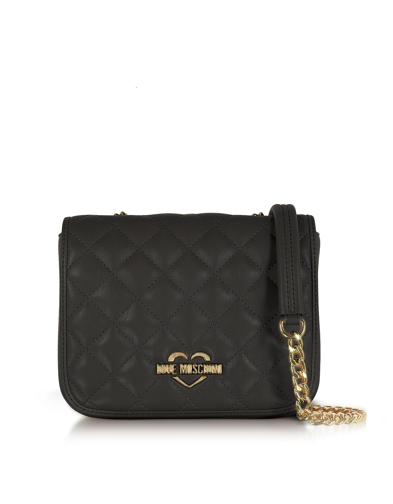 77628b336b1 Lyst - Love Moschino Superquilted Eco-leather Shoulder Bag in Black