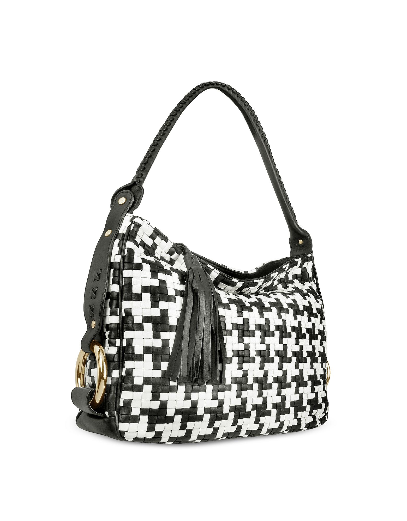 602e0668c38 Lyst - Fontanelli Black And White Houndstooth Woven Leather Tote Bag ...