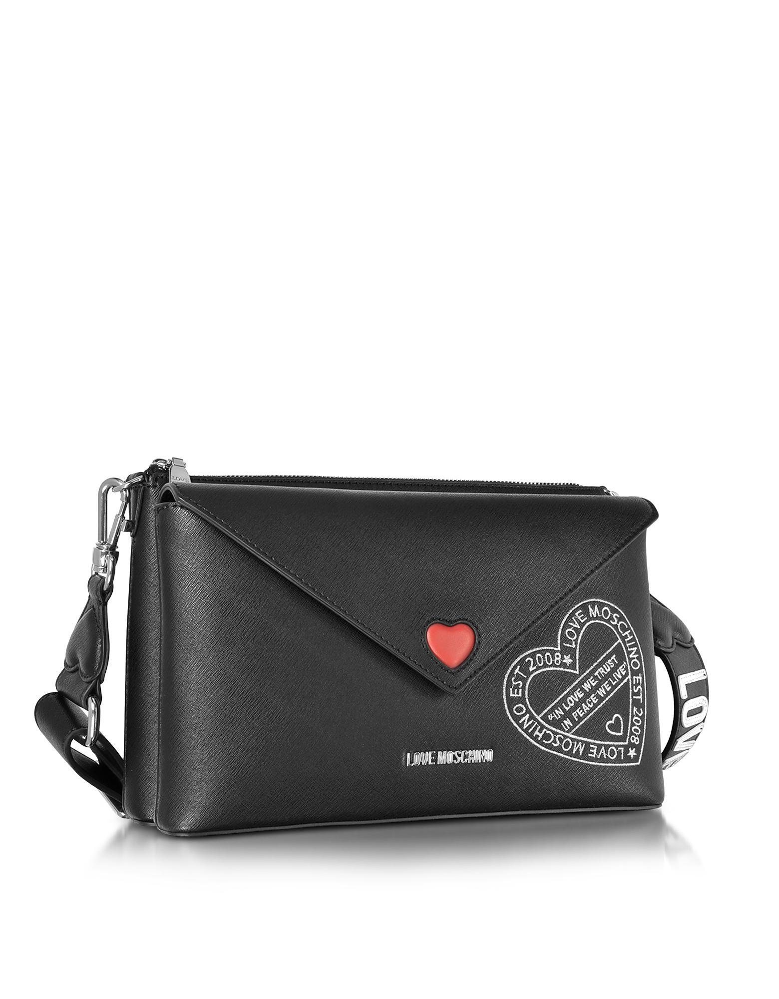 c8a368a894 Love Moschino Pocket Love Black Eco Leather Shoulder Bag in Black - Lyst