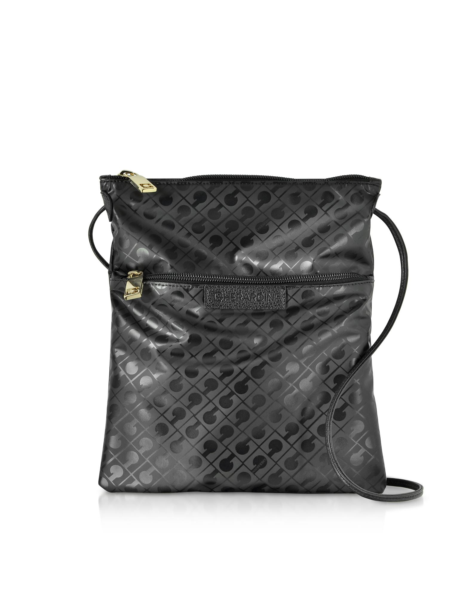 GHERARDINI Handbags, Clay Signature Fabric and Leather Softy Crossbody Bag w/Zip Front Pocket