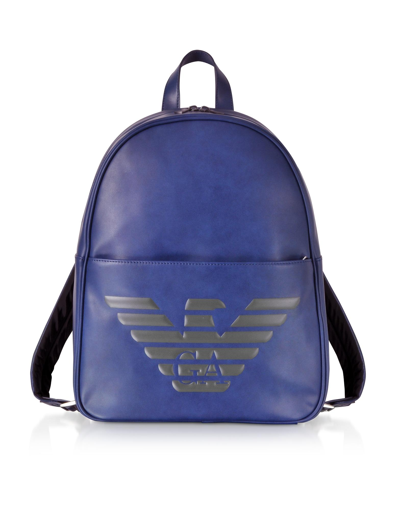 051be91ba744 Lyst - Emporio Armani Blue Eagle Embossed Eco Leather Men s Backpack ...