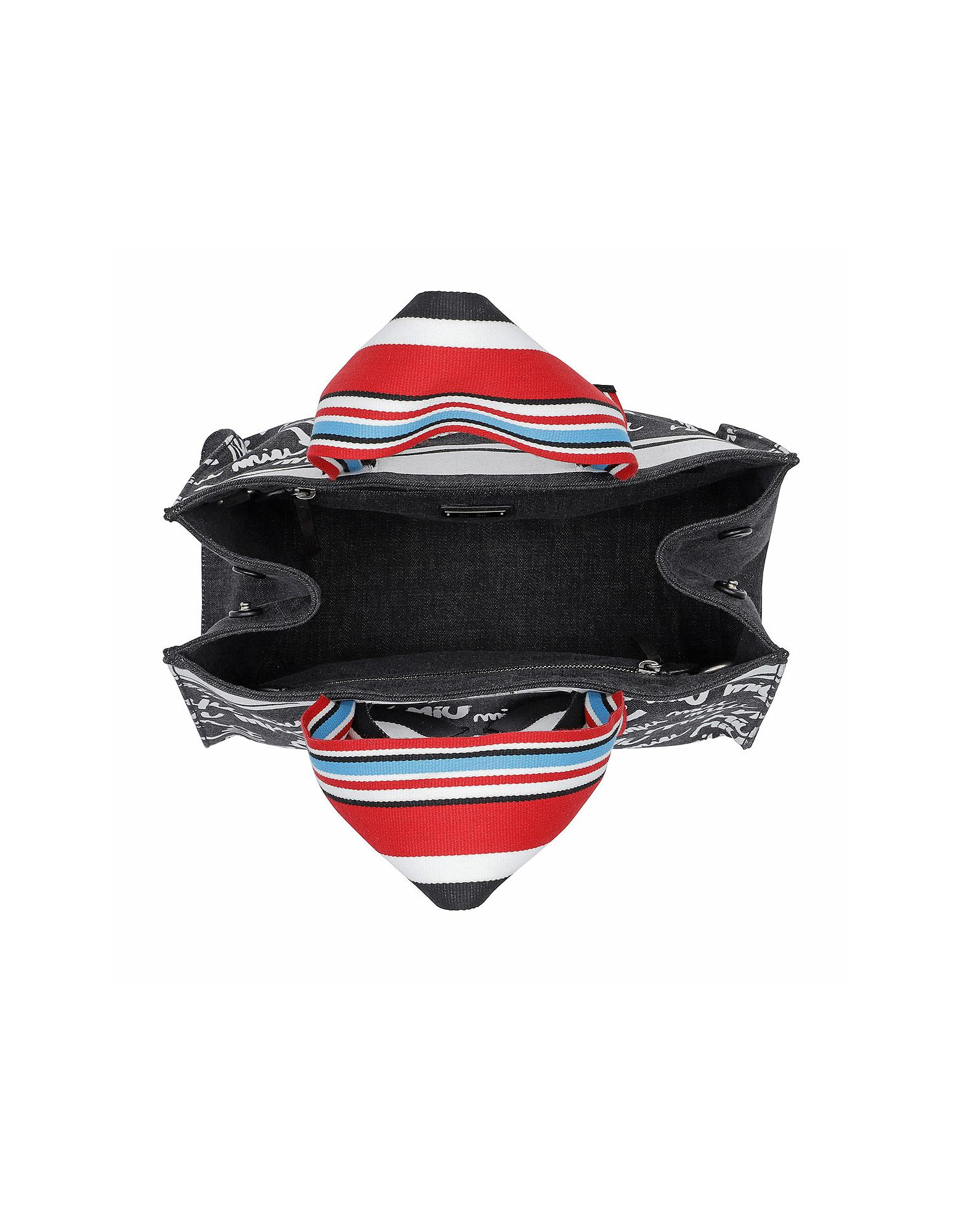 Miu Miu - Gray Denim Logo Shopping Bag Nero bianco - Lyst. View fullscreen f831751ff7bdc