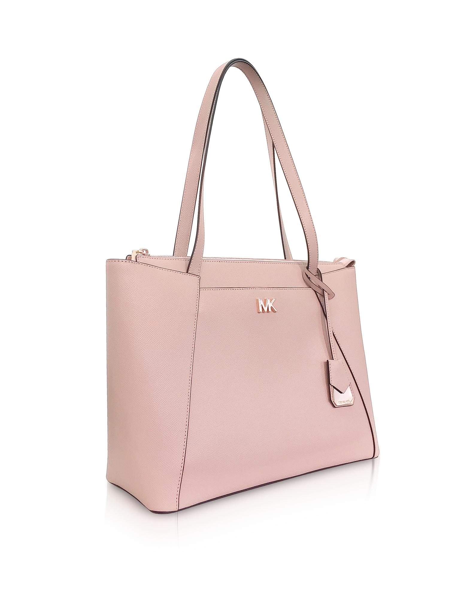63dca52c0932 Lyst - Michael Kors Soft Pink Maddie Medium Crossgrain Leather Tote ...