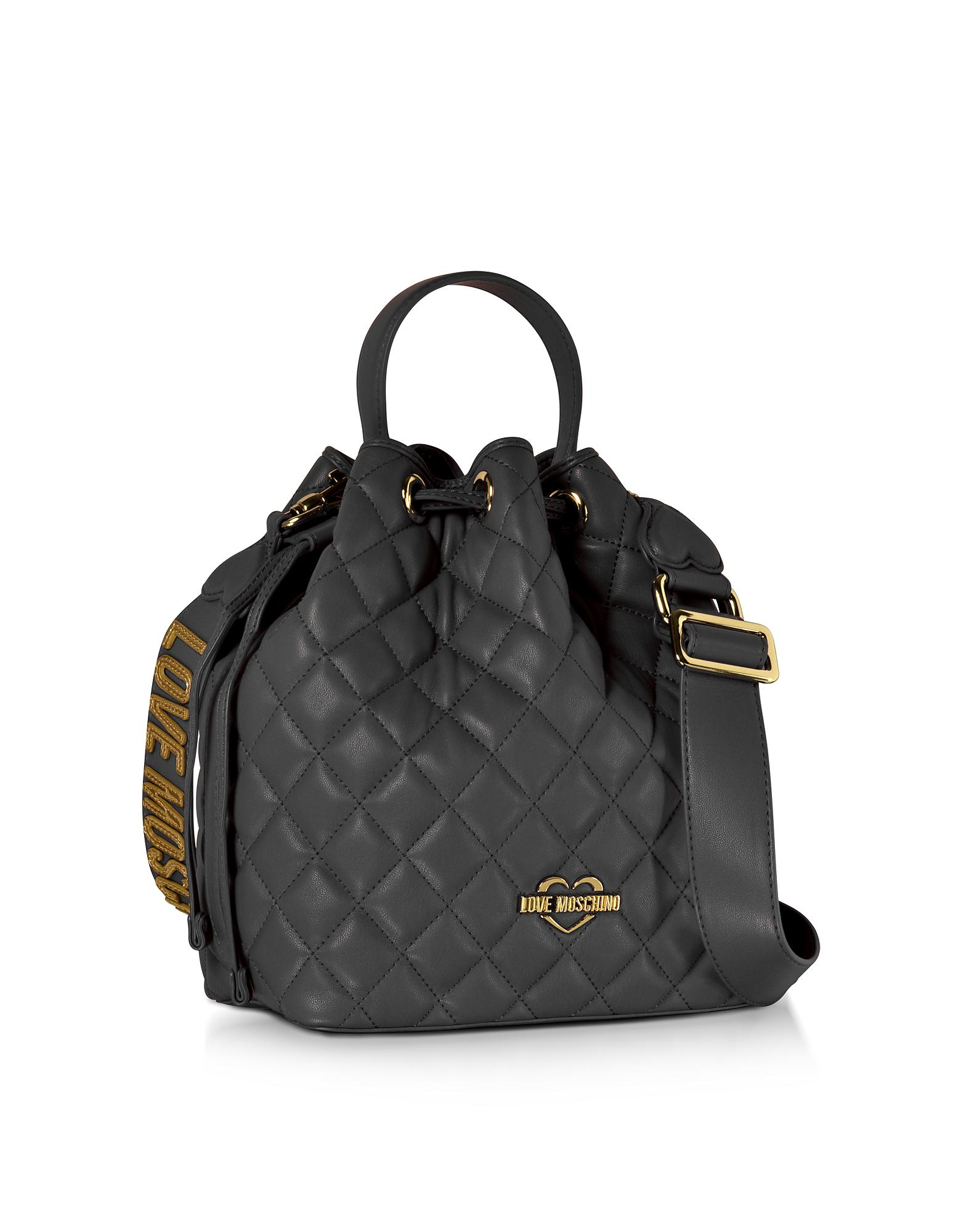744d86dda4ce Lyst - Love Moschino Black Quilted Eco Leather Bucket Bag in Black