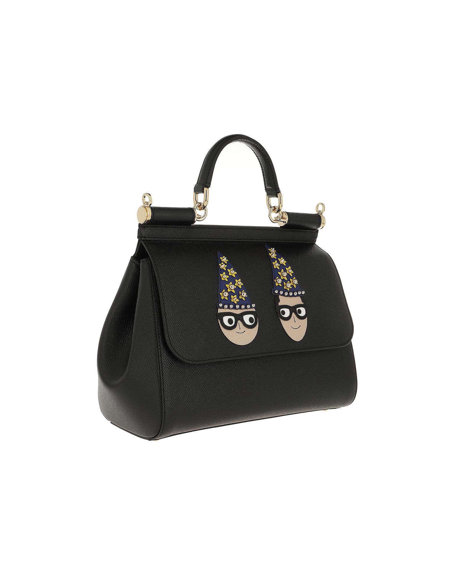 Dolce   Gabbana Sicily Medium Tote Leather Black in Black - Lyst 7485654fcb1fb