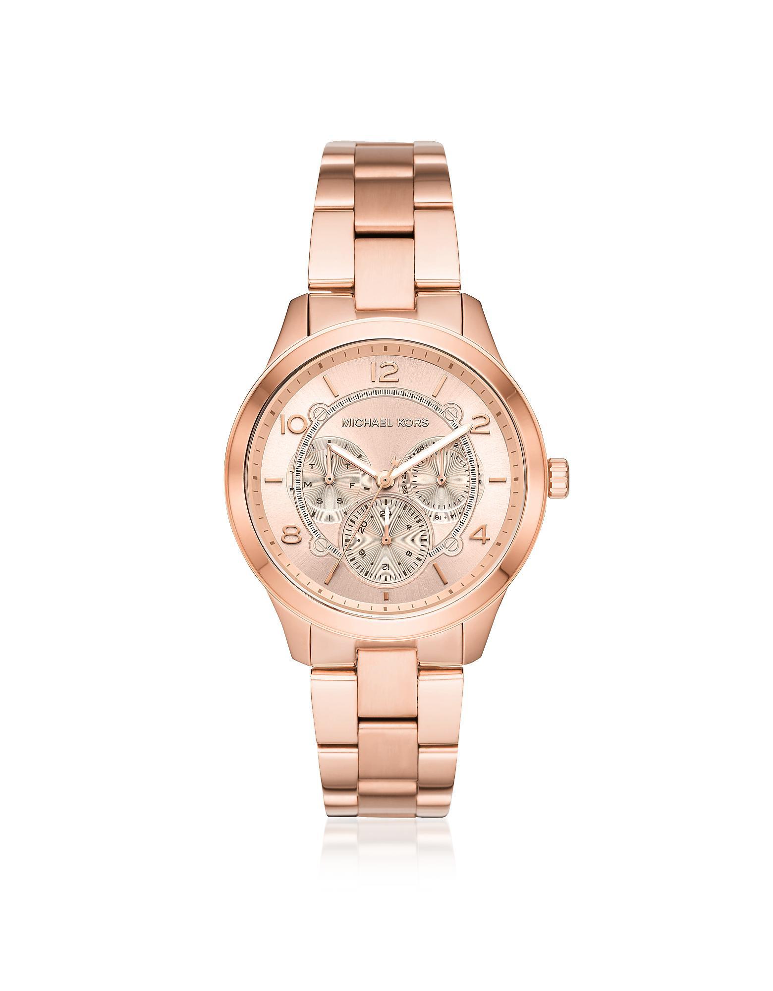 1f20855bd068 Michael Kors - Pink Runway Rose Gold-tone Multi-function Watch - Lyst. View  fullscreen