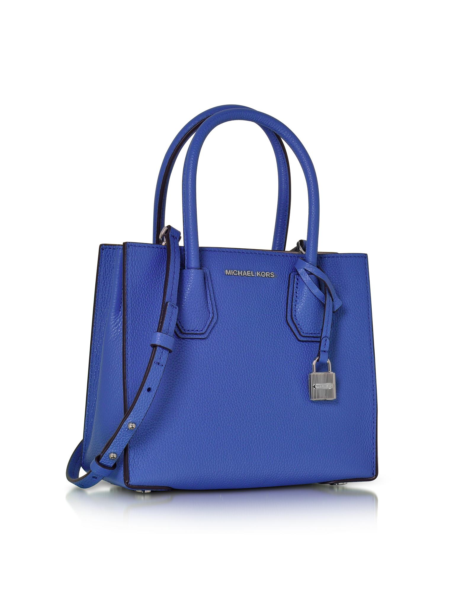 9587b4add587a8 Michael Kors Mercer Medium Electric Blue Pebble Leather Crossbody ...