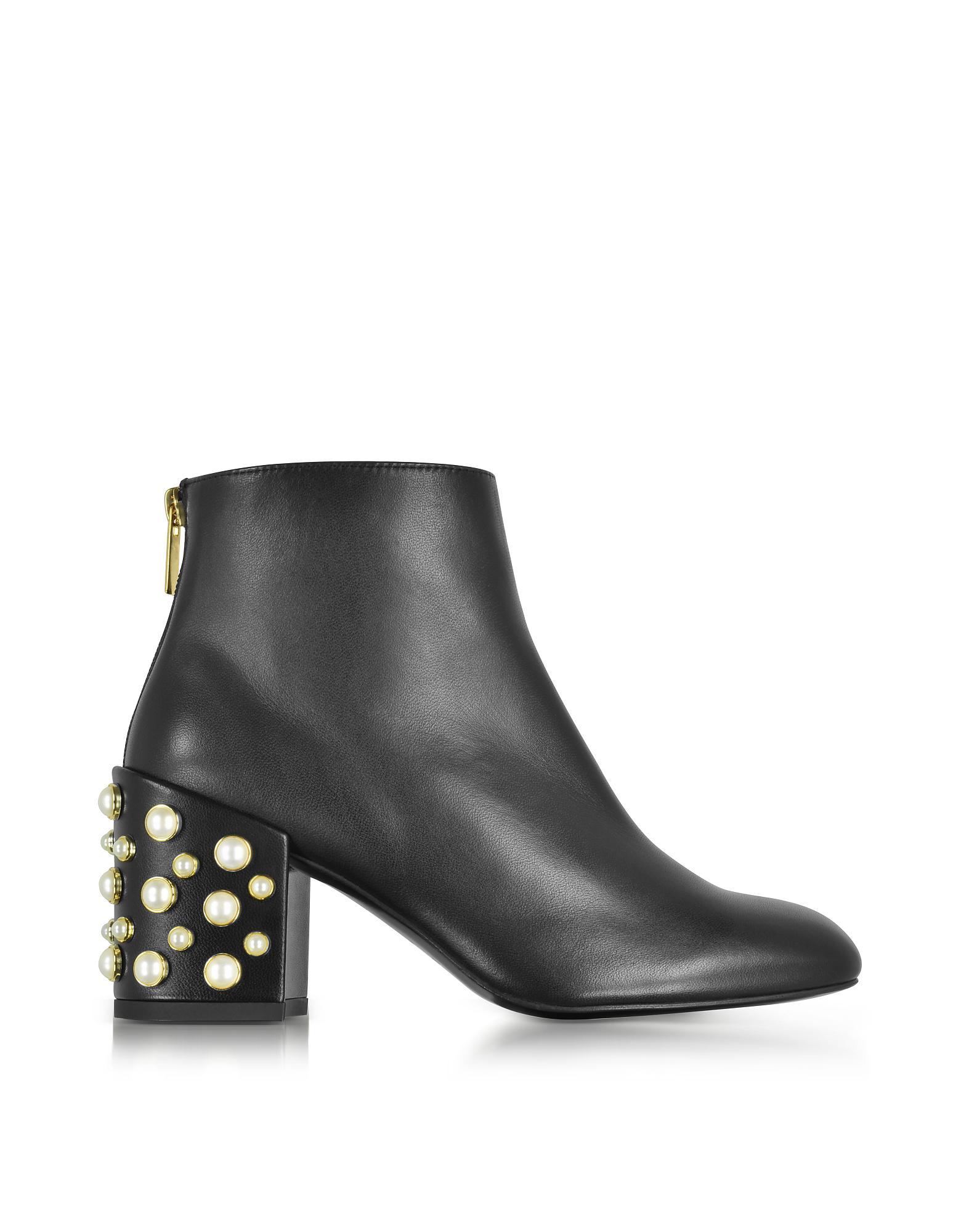 Stuart Weitzman Pearlbacari Black Nappa Leather Heel Ankle
