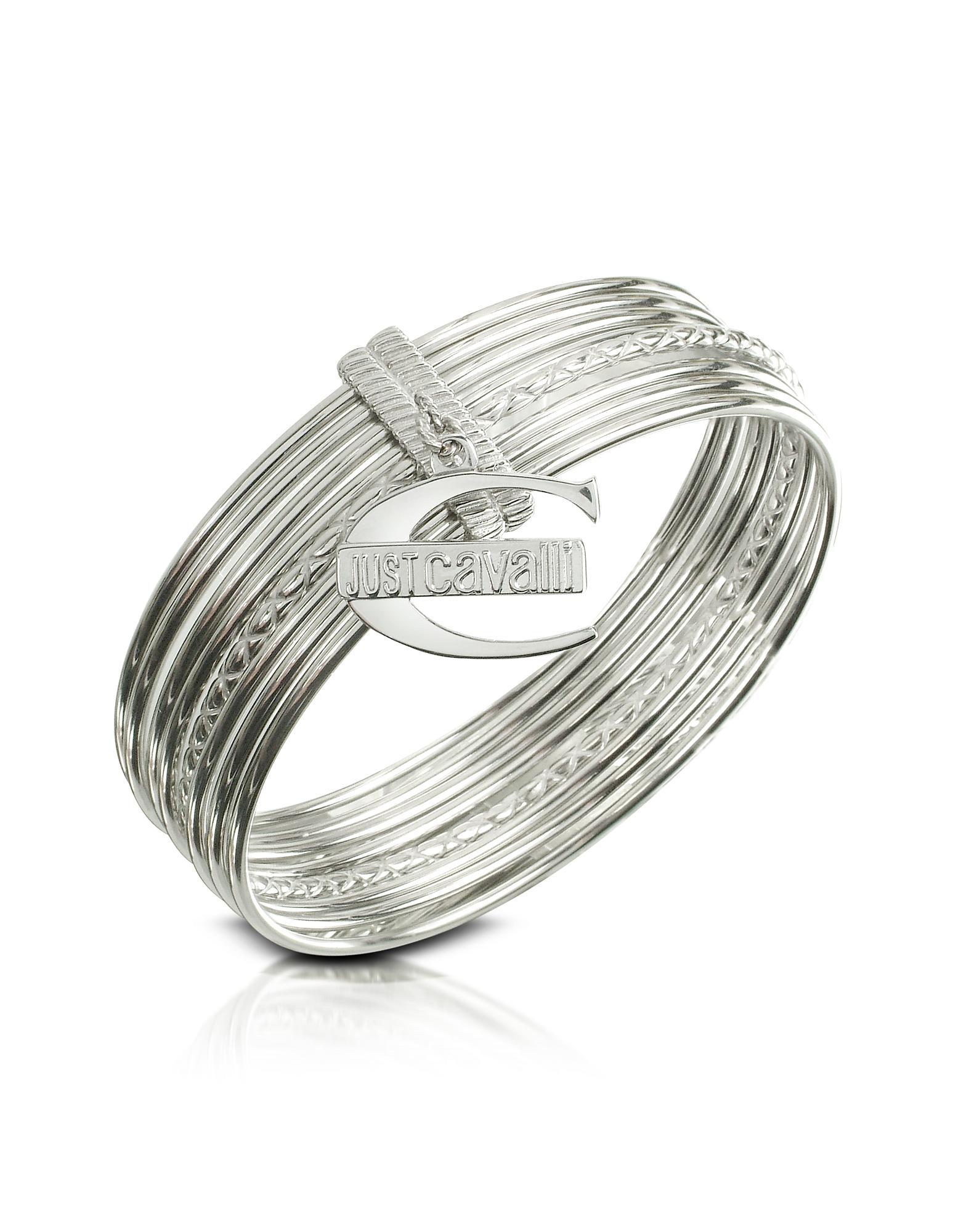 Just Cavalli Infinity Logo Charm Stacked Bangle Bracelet