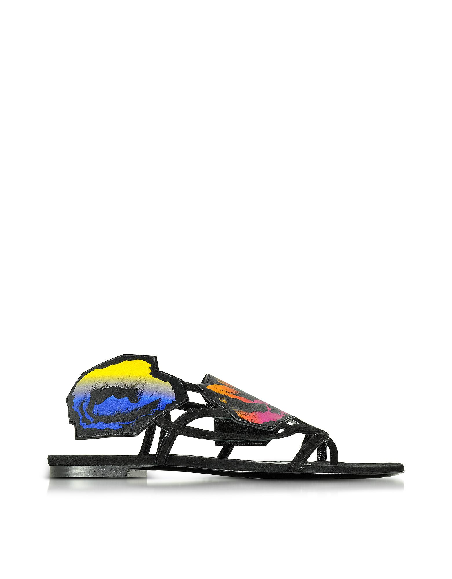 5ab8065253df8a Pierre Hardy. Women s Black Multicolour Leather And Suede Poppy Flat Sandals