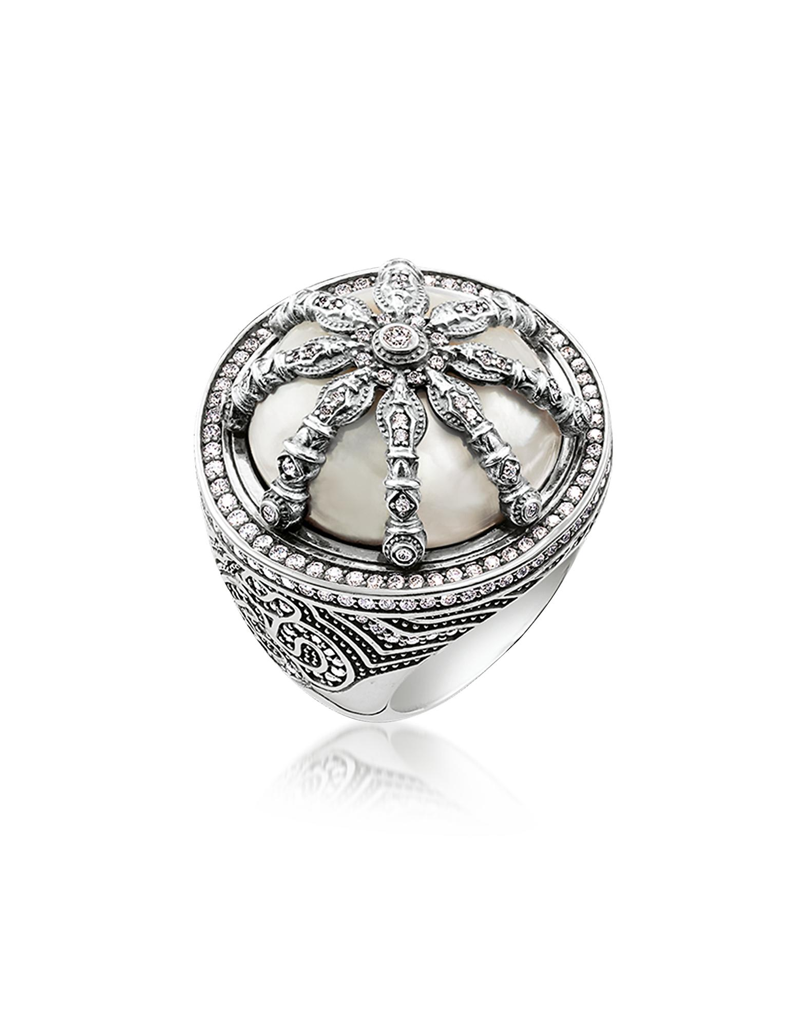 b37b9700f4f0 Thomas Sabo. Women s Metallic Blackened Sterling Silver   Mother Of Pearl  Ring ...