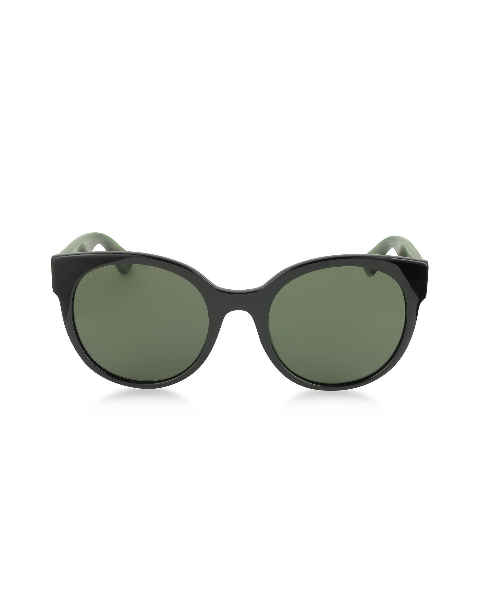 9da9b052a2ca8 Lyst - Gucci GG0035S 002 Black Optyl Round Women s Sunglasses W red ...