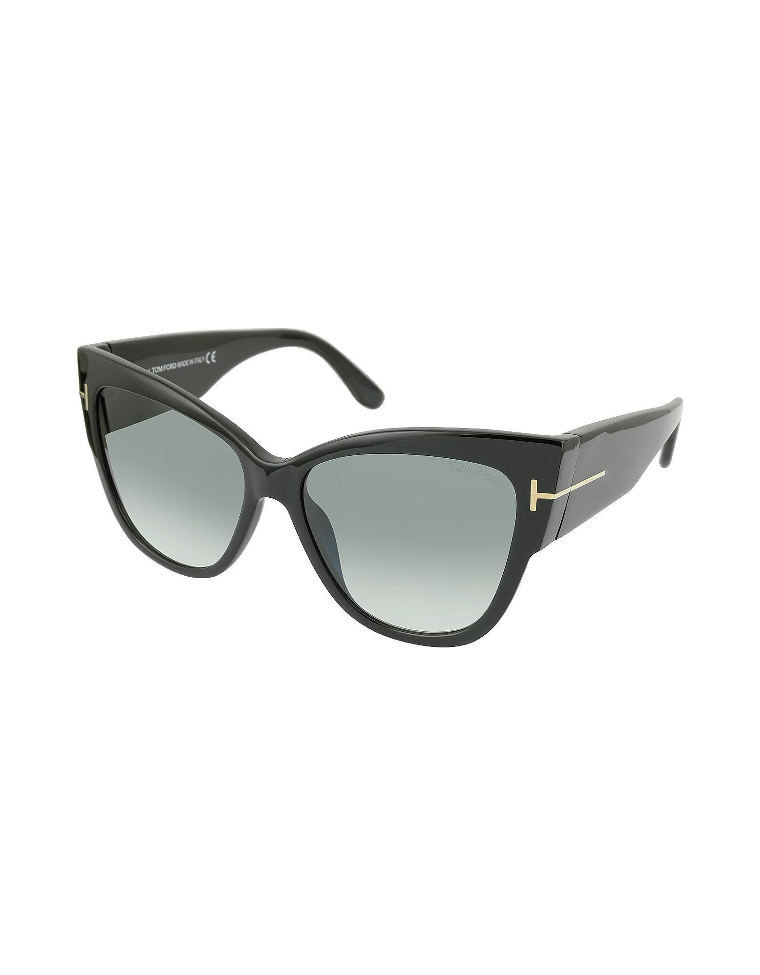2e92436ee1 Tom Ford Anoushka Ft0371 01b Black Cat Eye Sunglasses in Black - Lyst