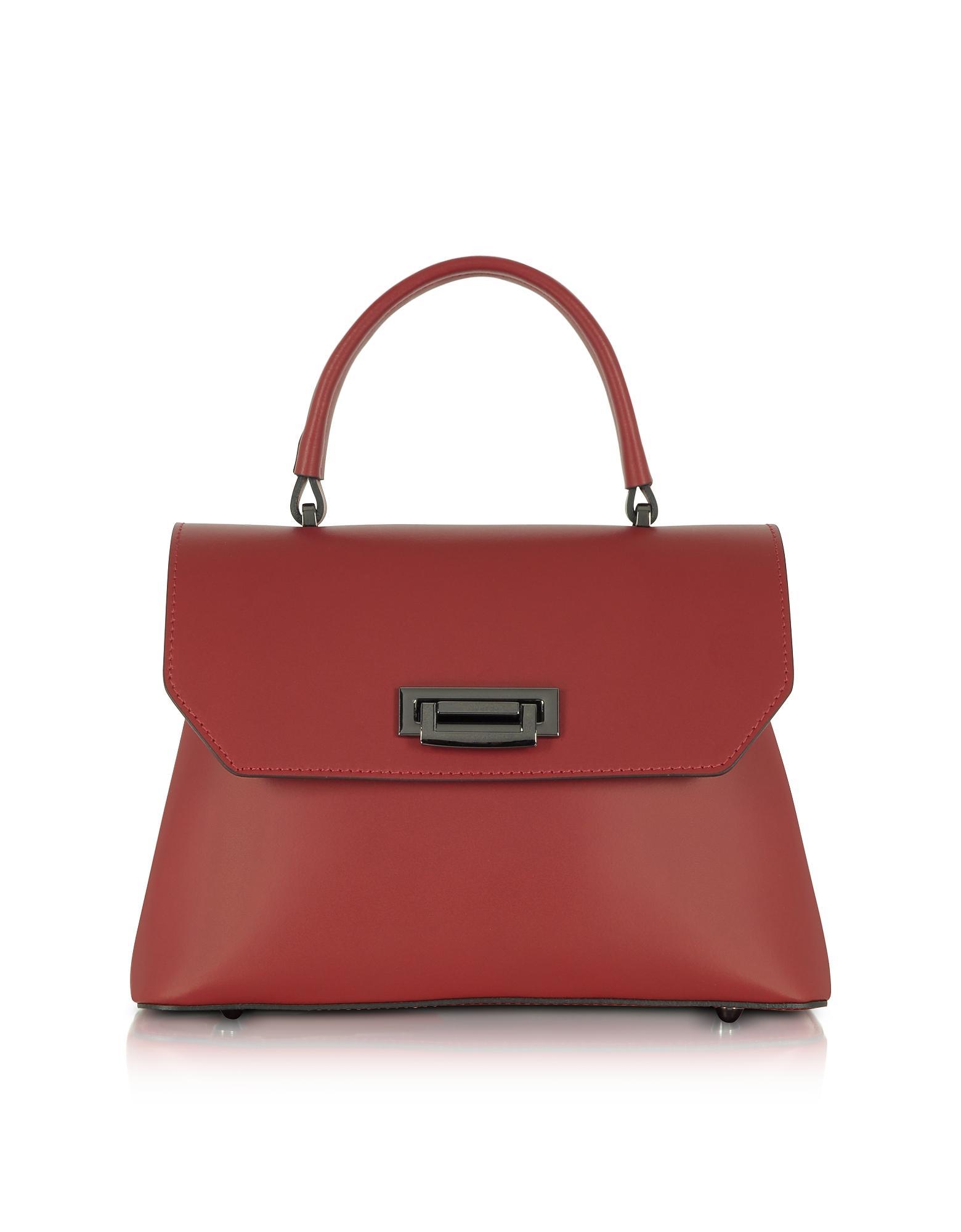 d671e797bb2a Le Parmentier. Women s Red Lutece Burgundy Leather Top Handle Satchel Bag