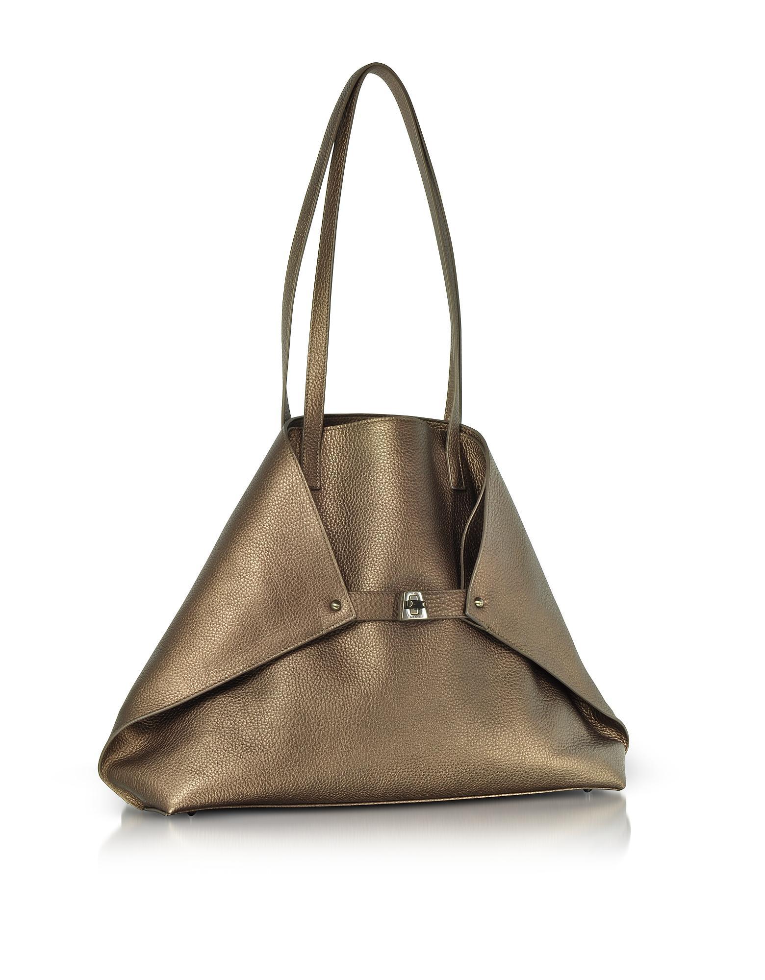 ea18ff9caa Akris Copper Laminated Cervocalf Ai Medium Shoulder Bag - Lyst