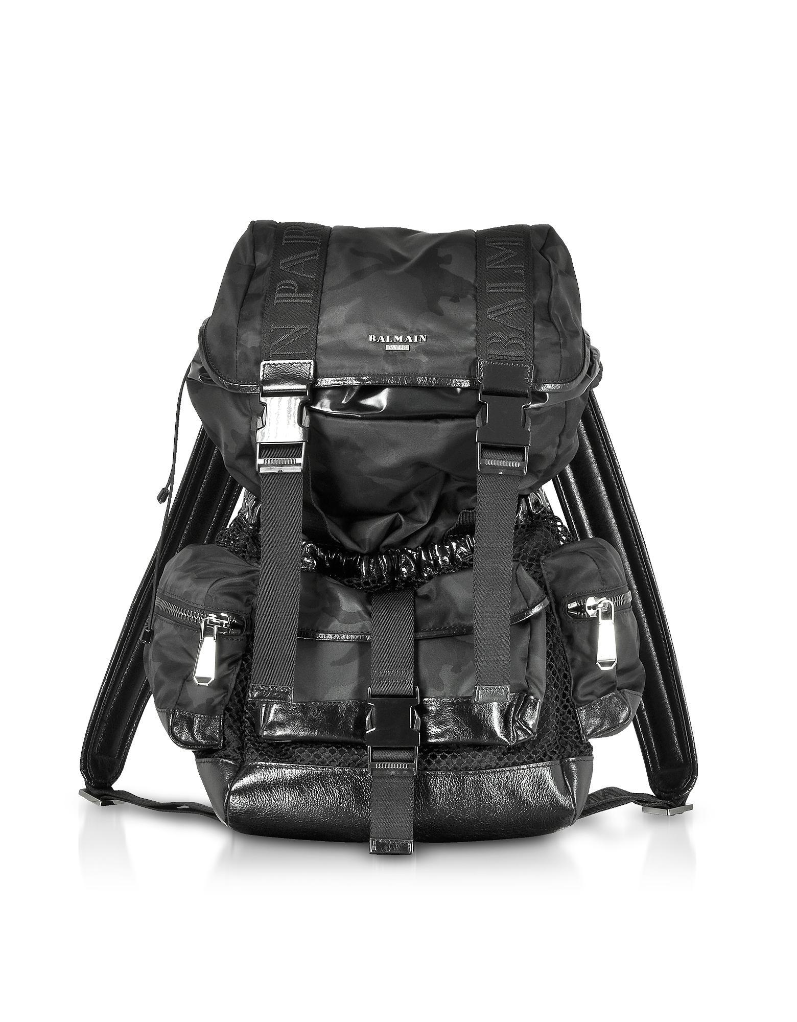 936344811bcc Balmain - Black Camouflage Nylon And Leather Elite Backpack for Men - Lyst.  View fullscreen