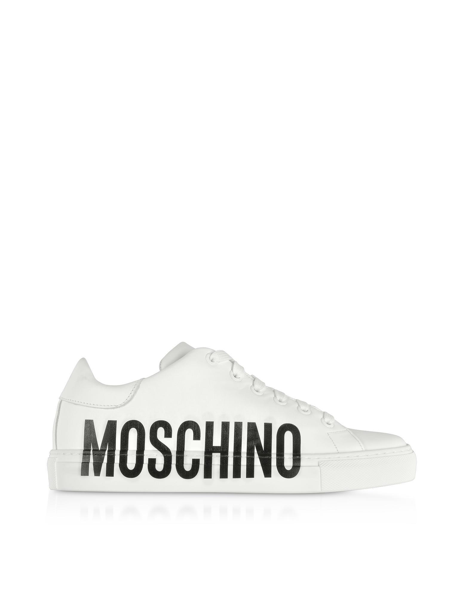 Zapatillas con logo estampado Moschino de Cuero de color Blanco