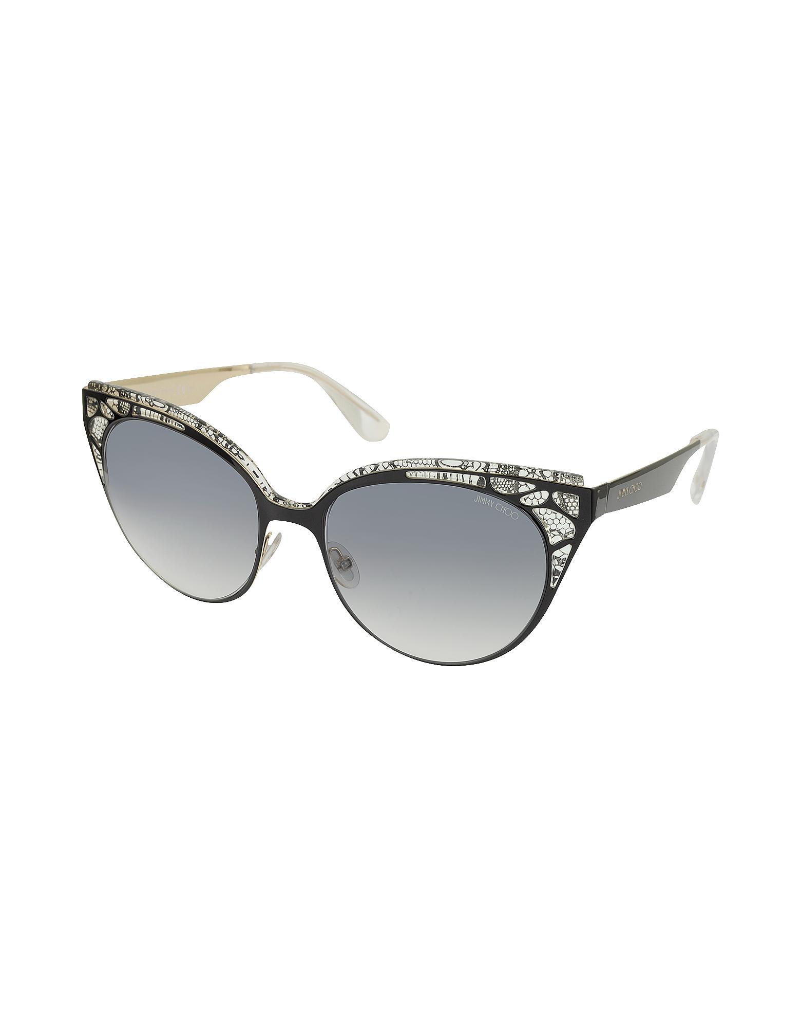 d2a224bbe0bc Lyst - Jimmy Choo Estelle s Enylf Black Metal Lace Cat Eye Sunglasses in  Black