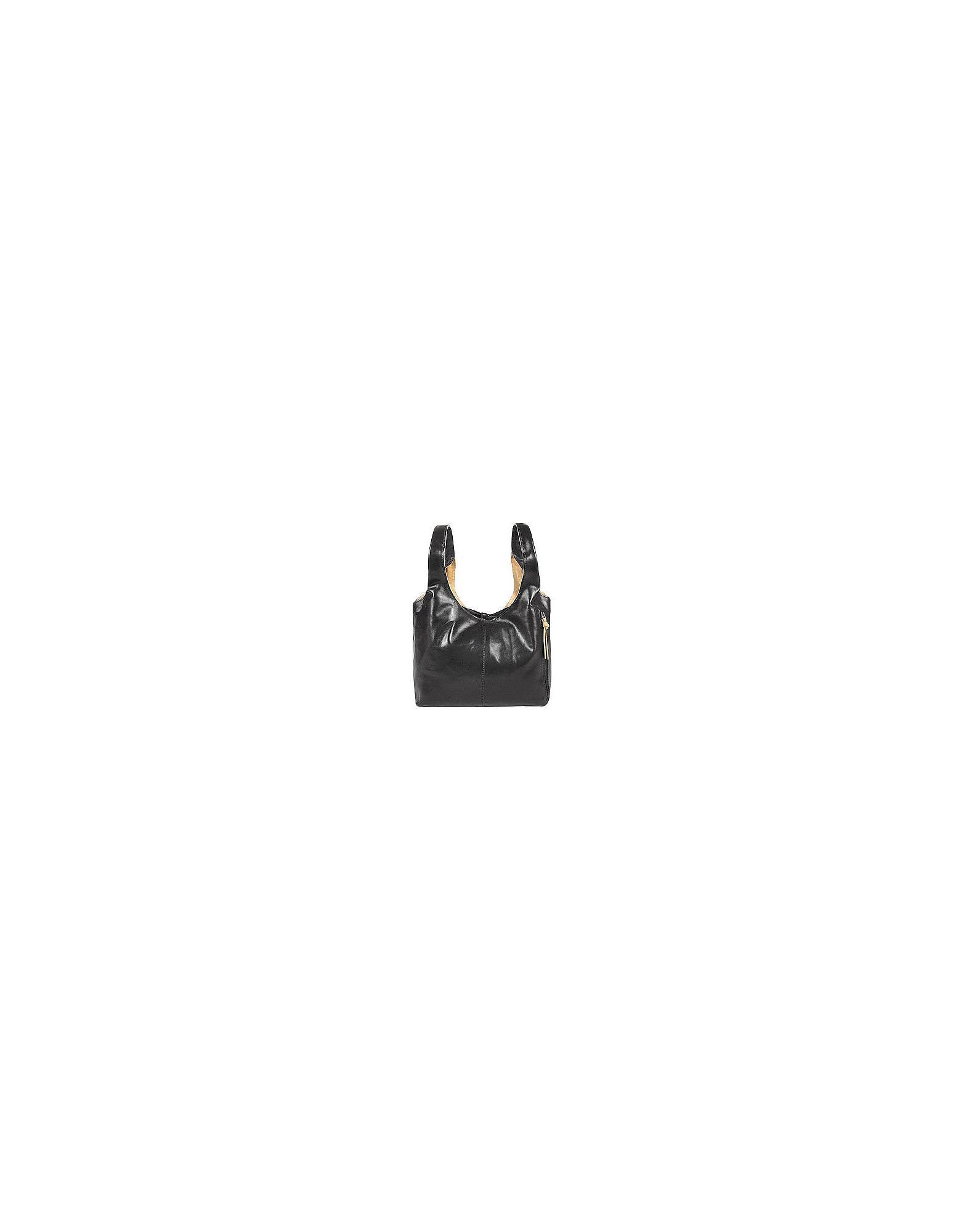 Fontanelli Women S Black Tan Reversible Italian Leather Handbag
