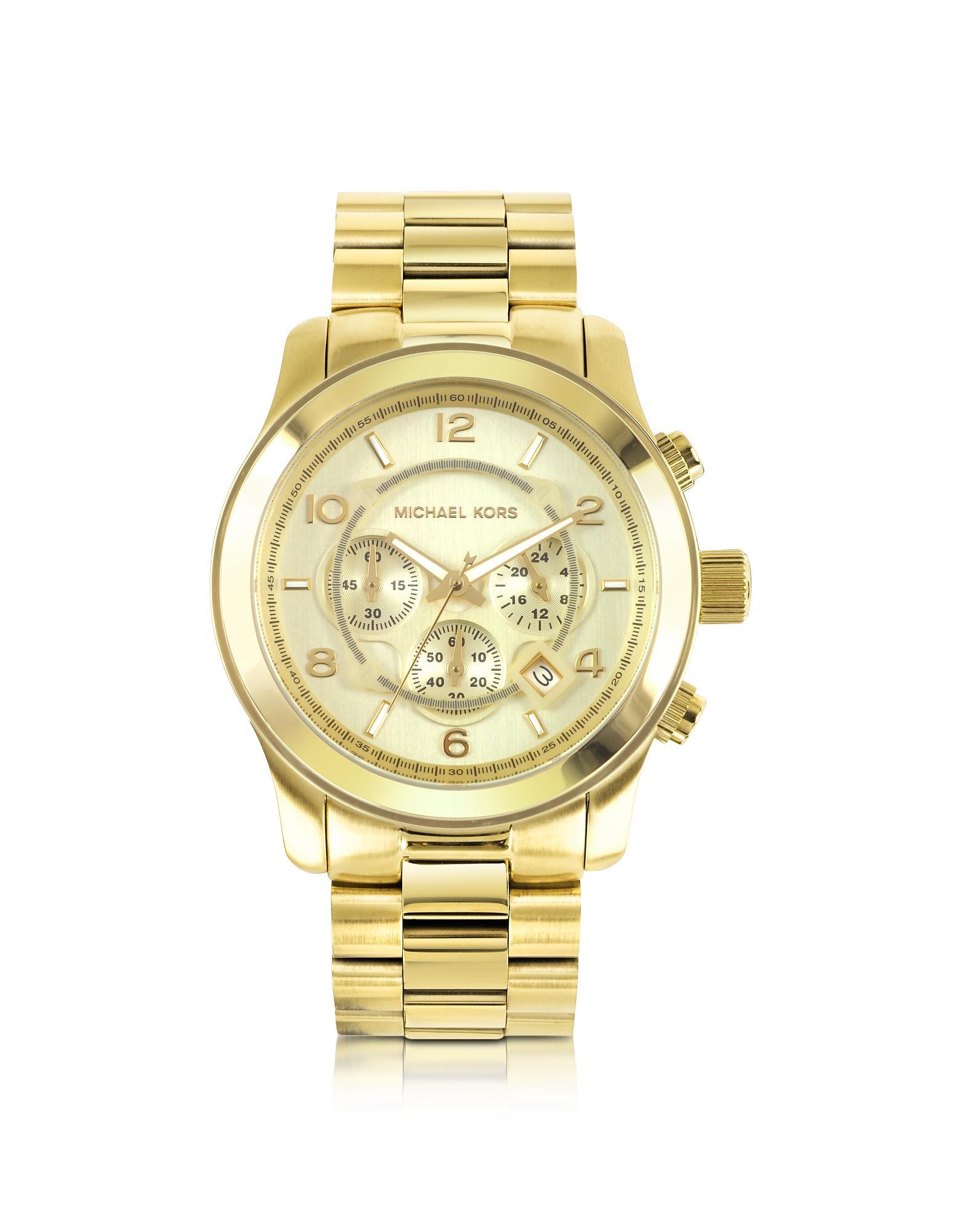 9249e0f28c4d Michael Kors - Metallic Men s Runway Gold-tone Stainless Steel Bracelet  Watch for Men -. View fullscreen